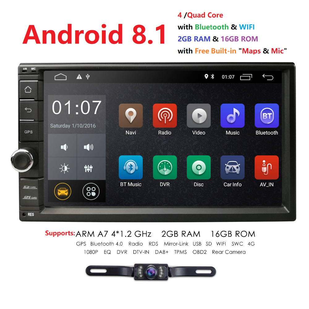 2019 2DIN Universal Car NO DVD player Android 8.1 Auto Radio Quad Core 7 Inch  GPS Stereo Audio Head unit Support DAB DVR OBD BT