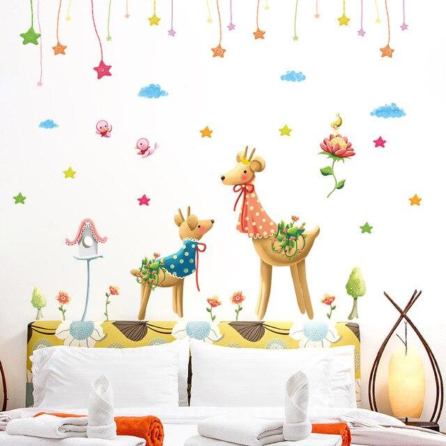 Fundecor] fantasy cervi adesivi da muro per bambini camere cucina ...