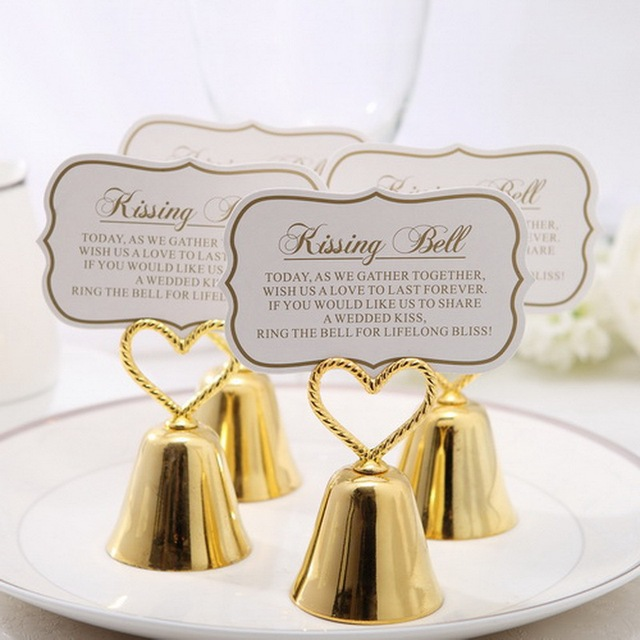 100pcs Lot Charming Gold Bell Place Card Holder Golden Wedding Party Decoration Favors