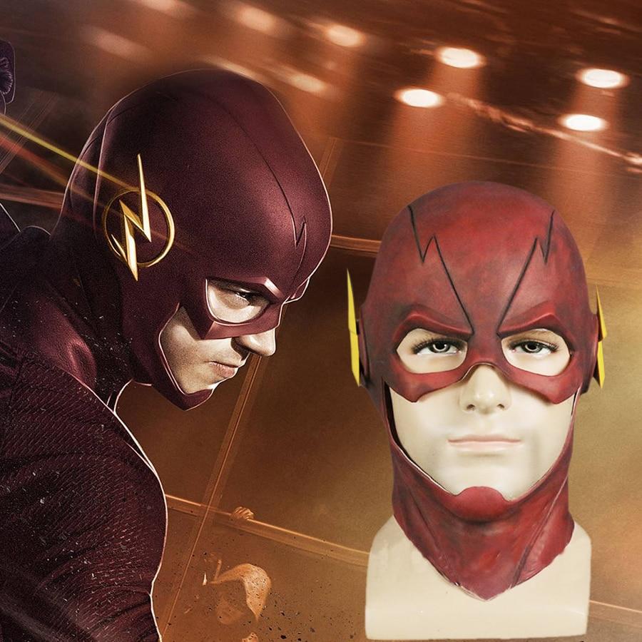 Takerlama le Flash Allen Cosplay casque Halloween visage complet Latex masque casque capuche en vente