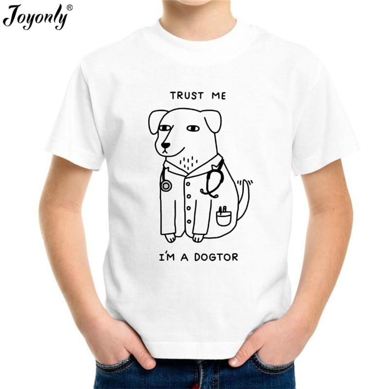 Joyonly 2018 Children T Shirt Cartoon Tee Shirt Cartoon puppy doctor Baby T Shirt Kids T-shirt Boys/Girls Clothing