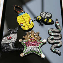 1pc 3d handmade rhinestone beaded patches for clothing star cat snake insect embroidery parche Decorative patch applique sequins