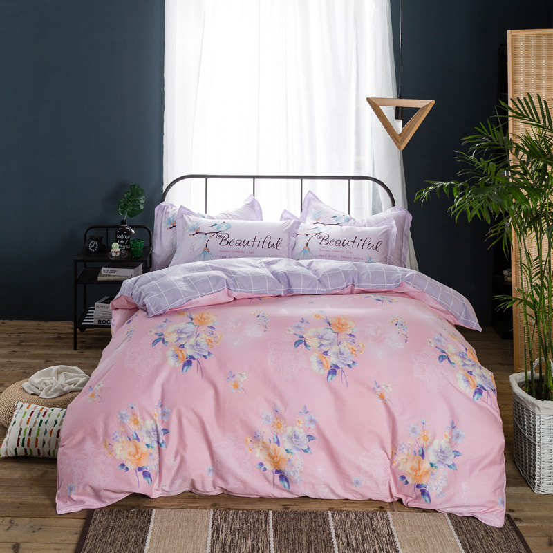 girl pink flower print bed linen 100% cotton bedding set queen full sizes 3d duvet cover 4/5 pcs purple sheet bed spreads adult
