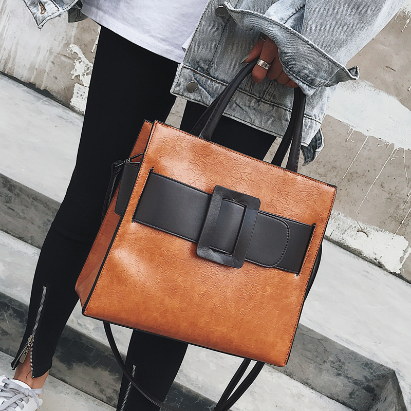 European Retro Fashion Female Big Tote bag 2018 New High quality PU Leather Women bag Large Handbags Wild Shoulder Messenger Bag four sets 2016 new winter fashion handbags bear pendant high quality pu leather women bag wild large capacity shoulder bag