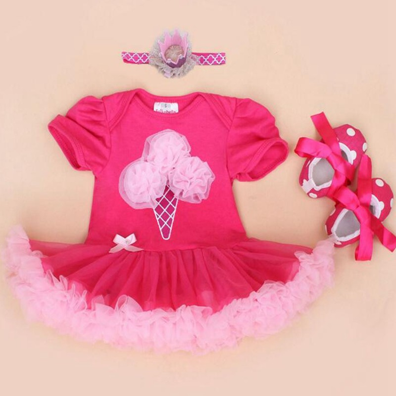 04c40a09266e Crown Ice Cream 1st Birthday Dress Baby Girl Clothes Infant Lace ...