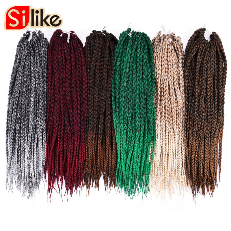 Silike synthetic Ombre Black Gray 3S Small Box Braids Crochet Hair Extensions 24 Roots 18