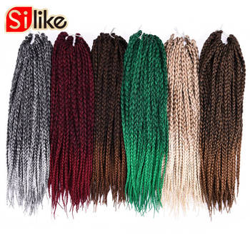 Silike 1 Packlot Ombre Black Gray 3S Small Box Braids Crochet Hair Extentions 24 Roots 18 Micro Crotchet Braiding Hairstyles grille
