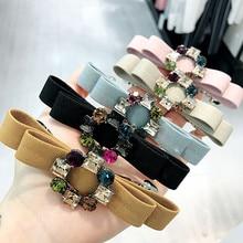 Korea Handmade Flower Crystal Crown Hair Accessories  For Girls Pearl Diamond Bows Rim Hairpin Clips Barrette