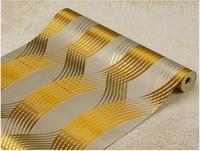 Modern Living Room Gold Metallic Wallpaper Wholesale Sale Health Gold Wallpaper Brown Stripe Foil High Quality