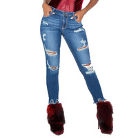 Ripped Jeans for Women Autumn Fall Winter 2018 Stretch Bodycon High Waist Boyfriend Hollow Out Skinny Distressed Gloria Jeans