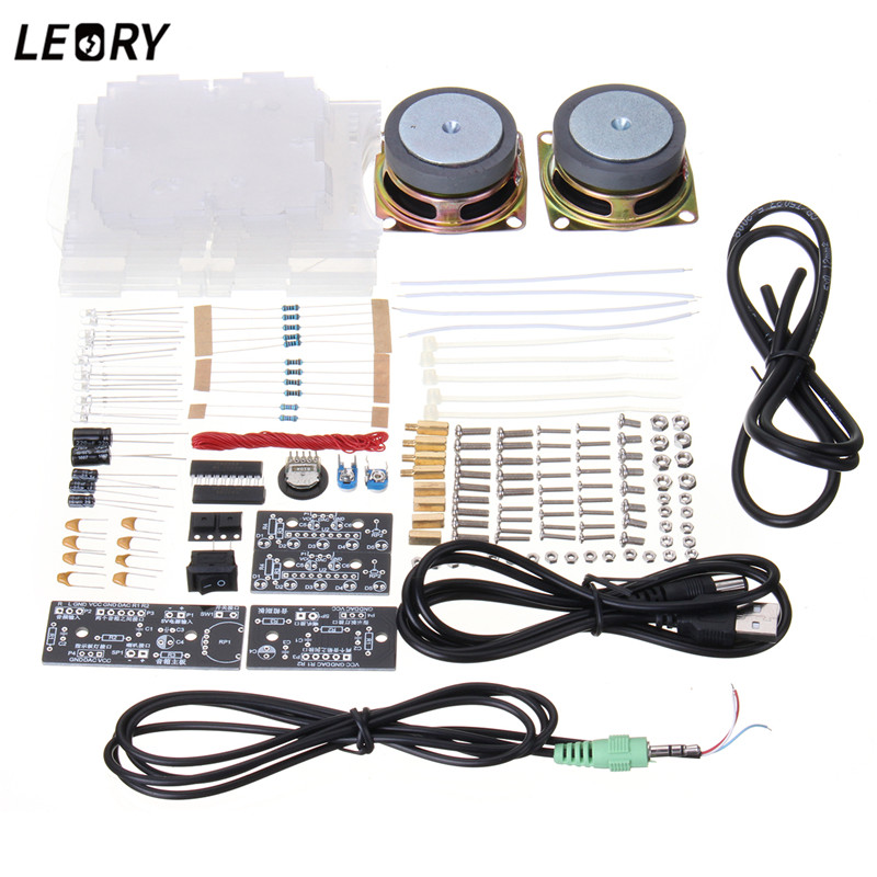 US $20 49 50% OFF|LEORY 8002 Chip LED Speaker Audiophile DIY Kits Mini  Computer Speaker Electric Spare parts CH2 0 Stereo Speaker 70x75x103mm-in