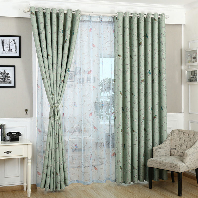 Curtains for bedroom Blue Green pattern Blackout Window Treatments Pastoral Curtain kitchen Hook