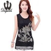 Dingaozlz Sexy embroidery Tops Summer Women blouse Plus size lace shirt female Slim sleeveless shirt Blusas