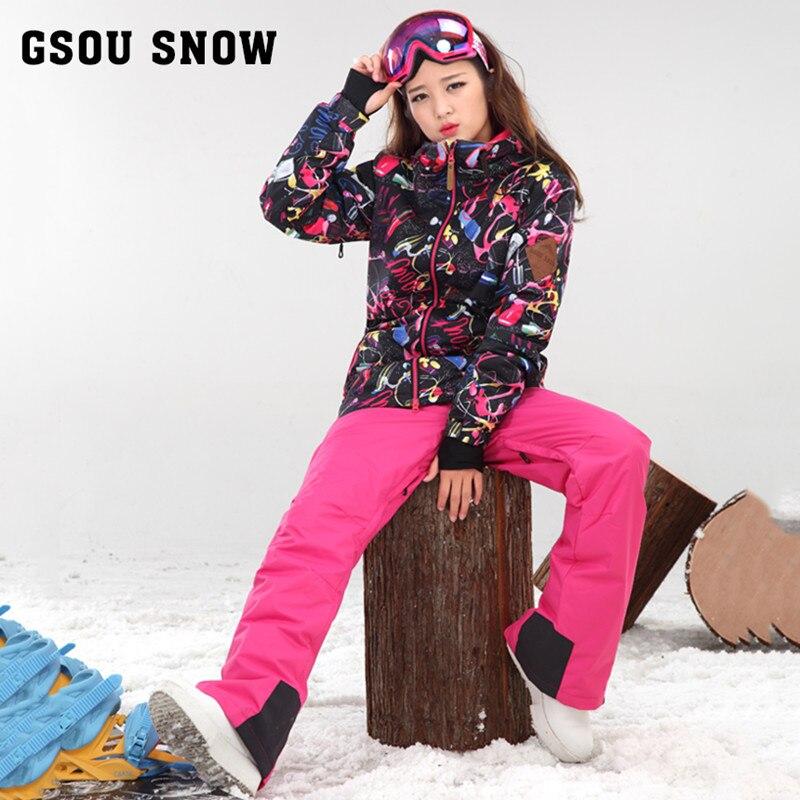Prix pour Gsou snow 2017 coloré double placage combinaison de ski féminin costumes à améliorer chaud étanche