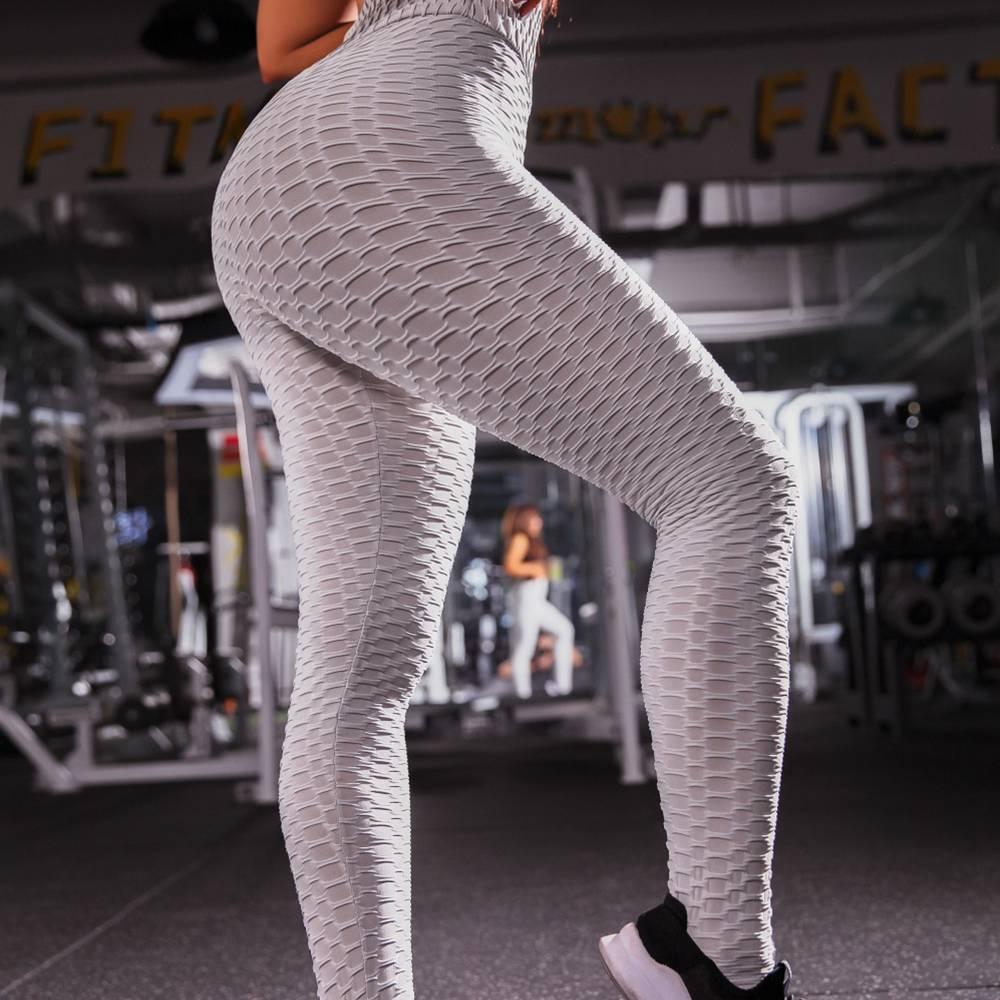 Womens Fitness Slim Sports Shaper Pants Fashion Ankle Hip Jacquard Gym Show Leggings