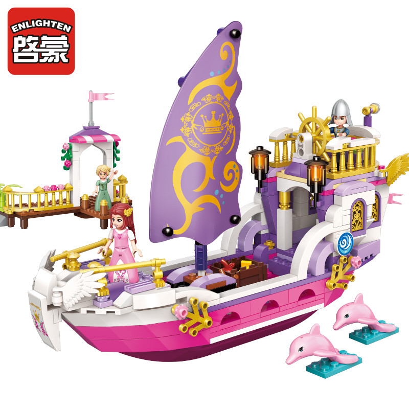 2609 ENLIGHTEN Girls Friends Princess Leah Angel Princess Ship Model Building Blocks Figure Toys For Children Compatible Legoe 1700 sluban city police speed ship patrol boat model building blocks enlighten action figure toys for children compatible legoe