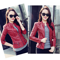 Fashion 2017 Spring Autumn Middle-Aged Women Short Thin Coats Stand Collar Long Sleeve Plus Size PU Leather Jacket LJ2604