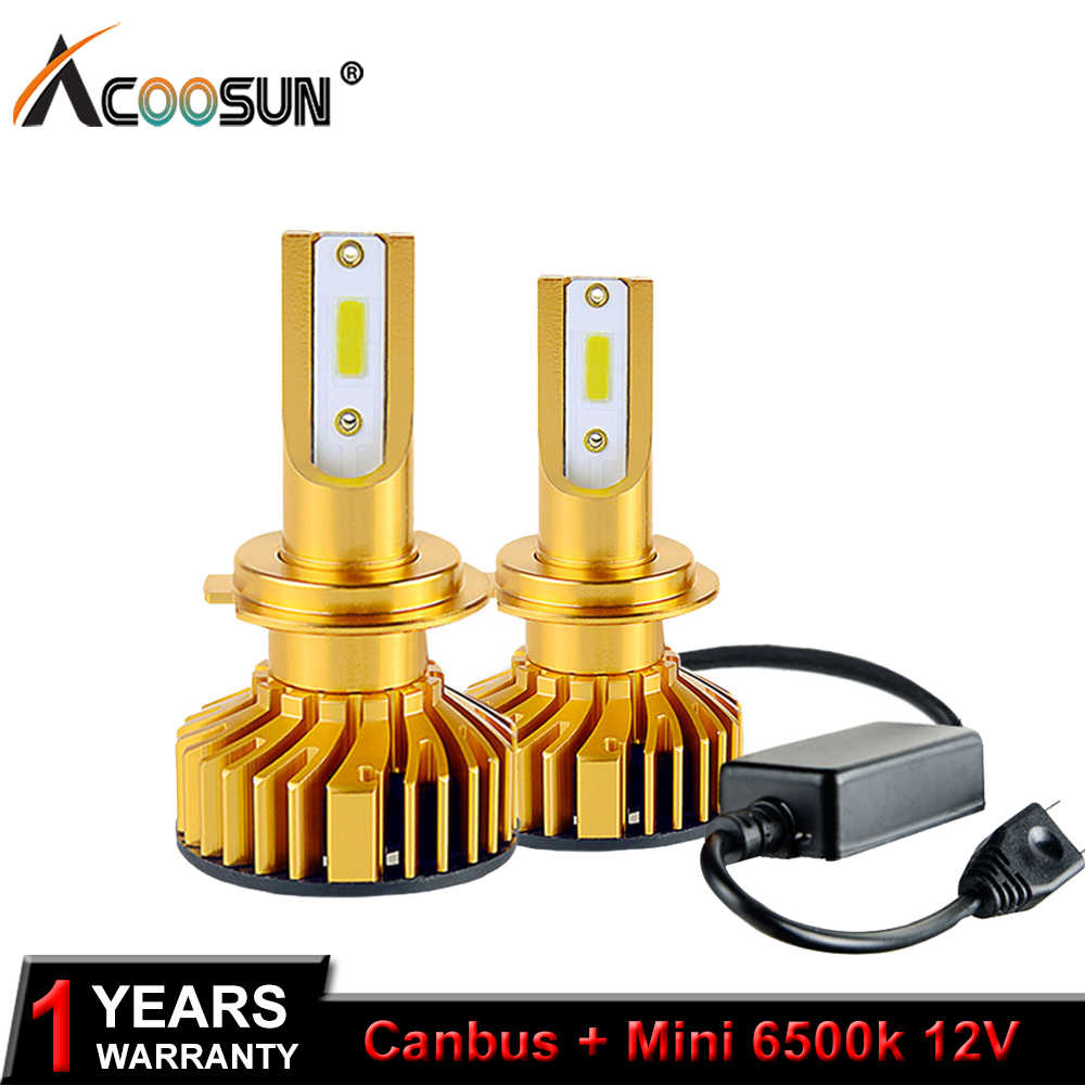 AcooSun DOB LED Car Headlight Ampoule H7 LED H4 LED H1 H11 9006 9005 HB3 HB4 9012 HIR2 72W 10000LM 6500K 12V 24V Auto Headlamp