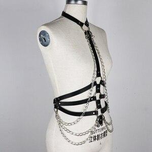 Image 3 - UYEE مثير Harajuku أحزمة النساء الهذيان سلسلة معدنية بولي Harness الجلود تسخير BDSM الوثن عبودية حزام السيدات الرباط عبودية LB 091