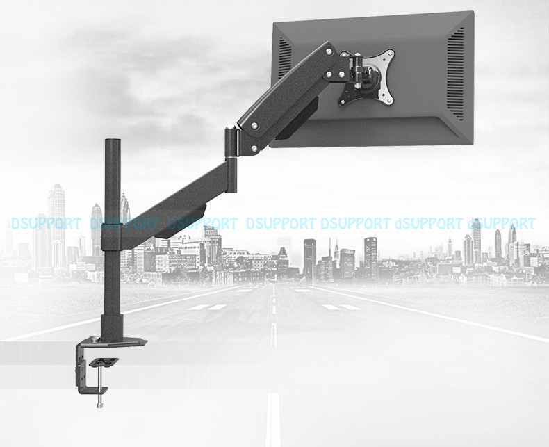 L152 Heavy Duty Gas Spring Arm Height Adjustable Monitor Holder Table Clamping TV Mount Sit-Stand Working Station Loading 10 KGS