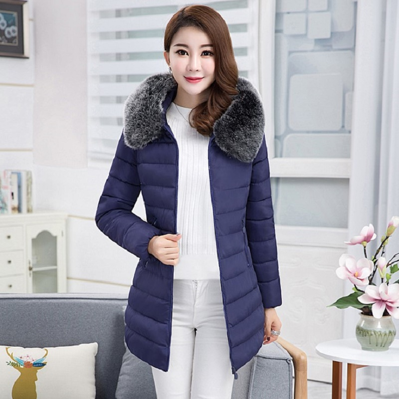 SMFOLW Winter Jacket Women's New Hair Collar Cotton Long Slim Down Cotton Thickened Korean Warm Hooded Jacket Winter Coat Women olgitum women s winter warm in the long section of slim was thin winter clothes tops down jacket big hair collar cc056
