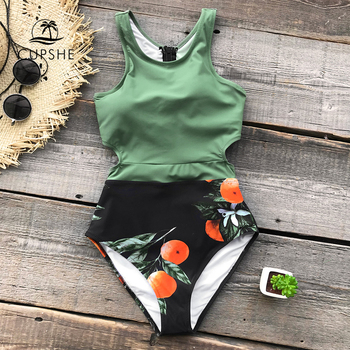 CUPSHE Green Miss U Print One-piece Swimsuit Women Tied Bow Cutout Tank Monokini 2020 Girl Beach Bathing Suit Swimwear 1