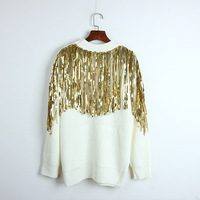 Runway Autumn 2018 fashion back sequined tassel sweater women Korea knitted black white pullover jumper long Loose outwear top