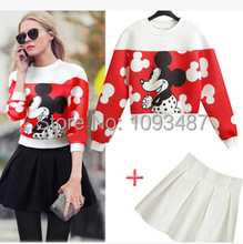 2017 New Autumn Spring minnie Mouse Print Dress Suit cotton Women Dress and Mouse Sweatshirt Hoodies  Pullover Black S-XL