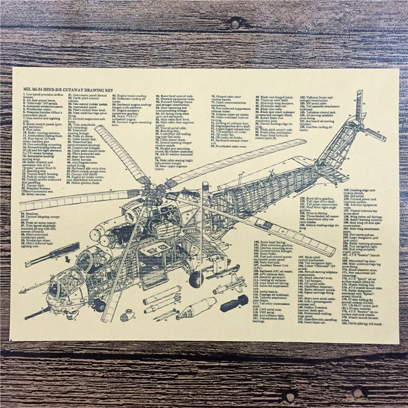 NºRZA-233 Vintage kraft paper Helicopter Detailed features pictures ...