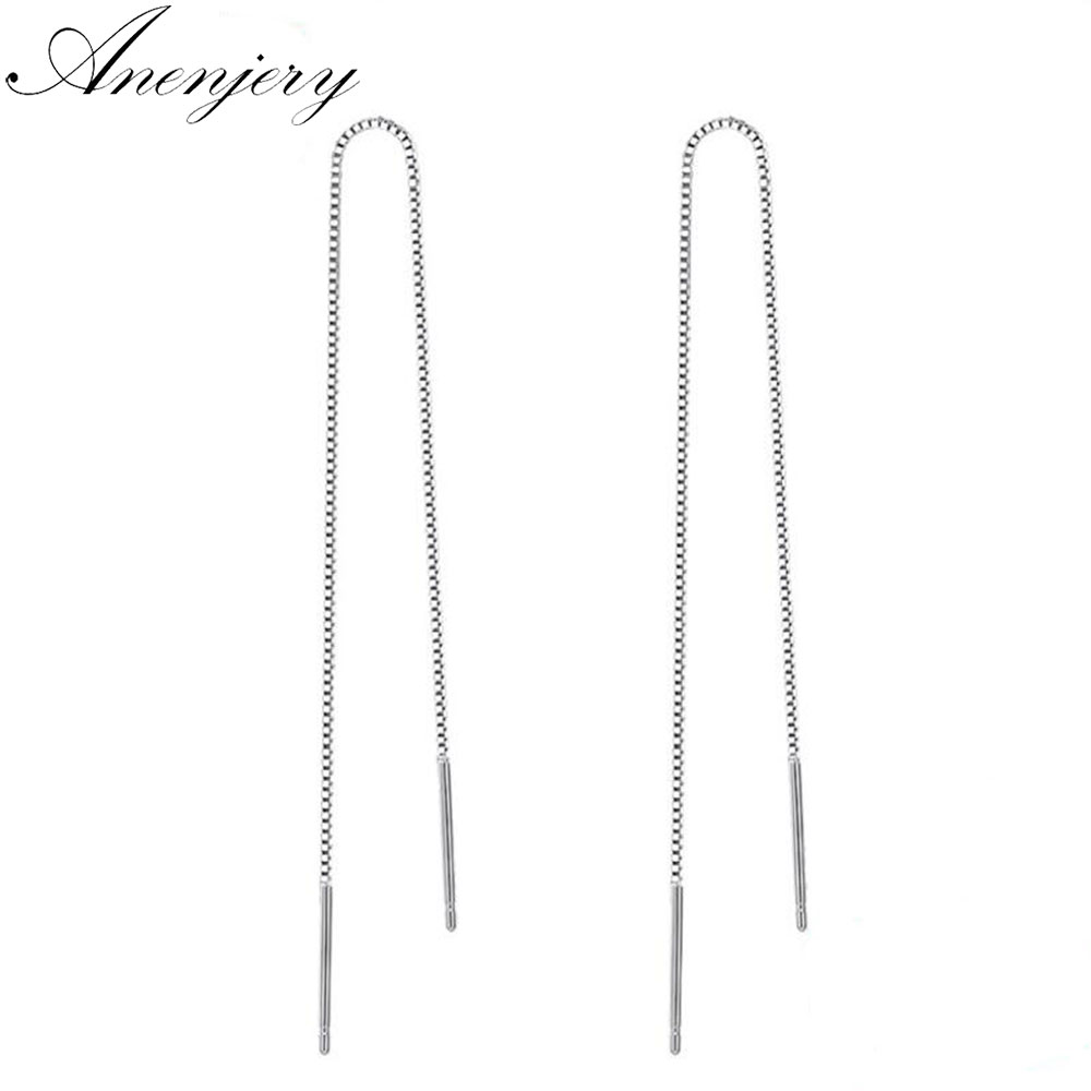 Anenjery 925 Sterling Silver Long Tassel Earrings 9cm-18cm Chain Ear Line Earrings For Women boucle d'oreille oorbellen S-E76(China)