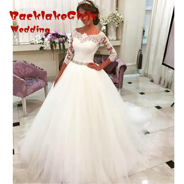 Vintage Ball Gown Long Sleeve Lace font b Wedding b font font b Dresses b font