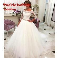 Vintage Ball Gown Long Sleeve Lace Wedding Dresses 2017 Custom made Off Shoulder Tulle Wedding Bridal Gowns Vestido De Novia