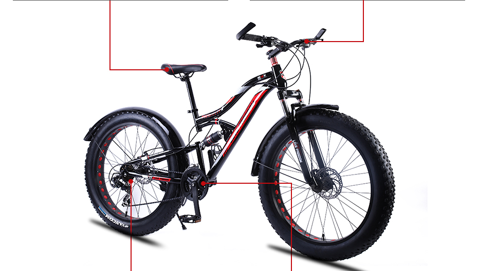 "HTB1V4oceEuF3KVjSZK9q6zVtXXaS Love Freedom Mountain Bike 7 Speeds, 21Speeds .24 Speeds .27 Speeds Fat Bike 26x4.0""  Off-road gear reduction Beach Bike"
