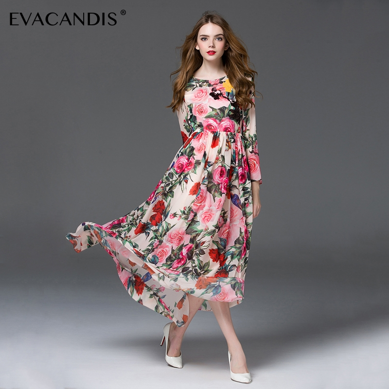 US $35.48 |Floral Maxi Dress Long Sleeve Elegant Vintage Long Tunic Chiffon  Pink Flower Beach Plus Size Summer Dress Women Vestidos-in Dresses from ...