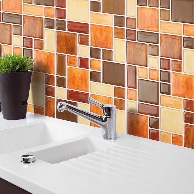 PVC Bathroom Wall Sticker Oil Proof Self Adhesive Mosaic Tile Style Toilet  Waterproof Matte