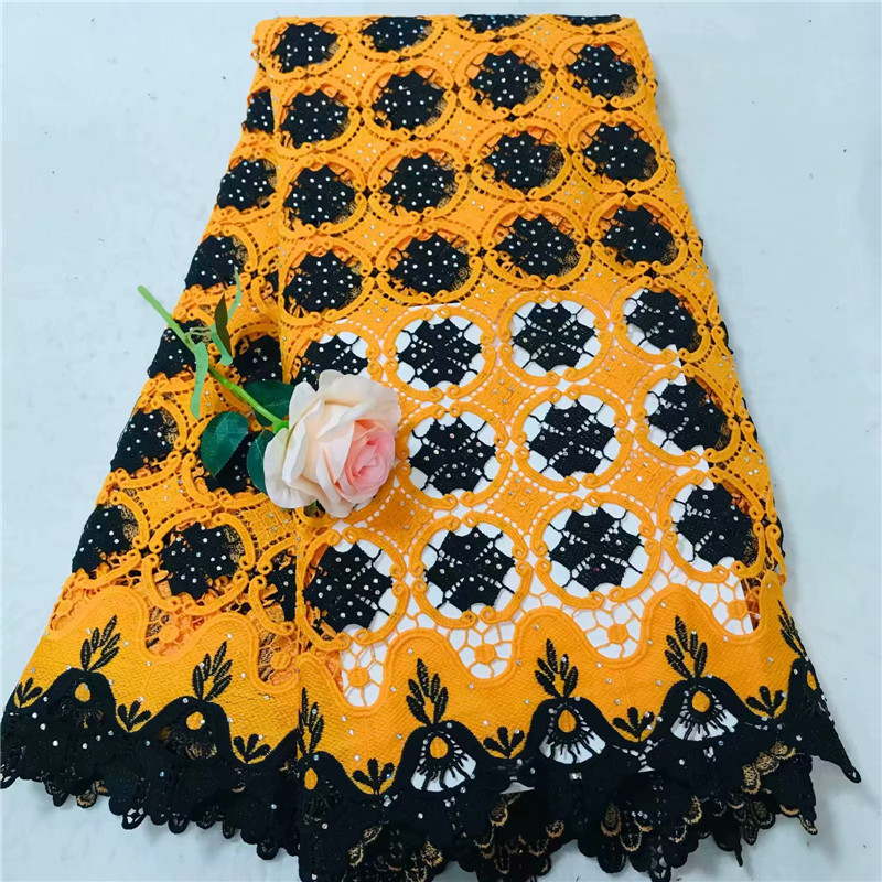 Orange/Black Nigerian Fabric Lace 2018 High Quality Guipure Fabric Embroidery Cord Lace African Laces Fabric For Wedding X1353Orange/Black Nigerian Fabric Lace 2018 High Quality Guipure Fabric Embroidery Cord Lace African Laces Fabric For Wedding X1353
