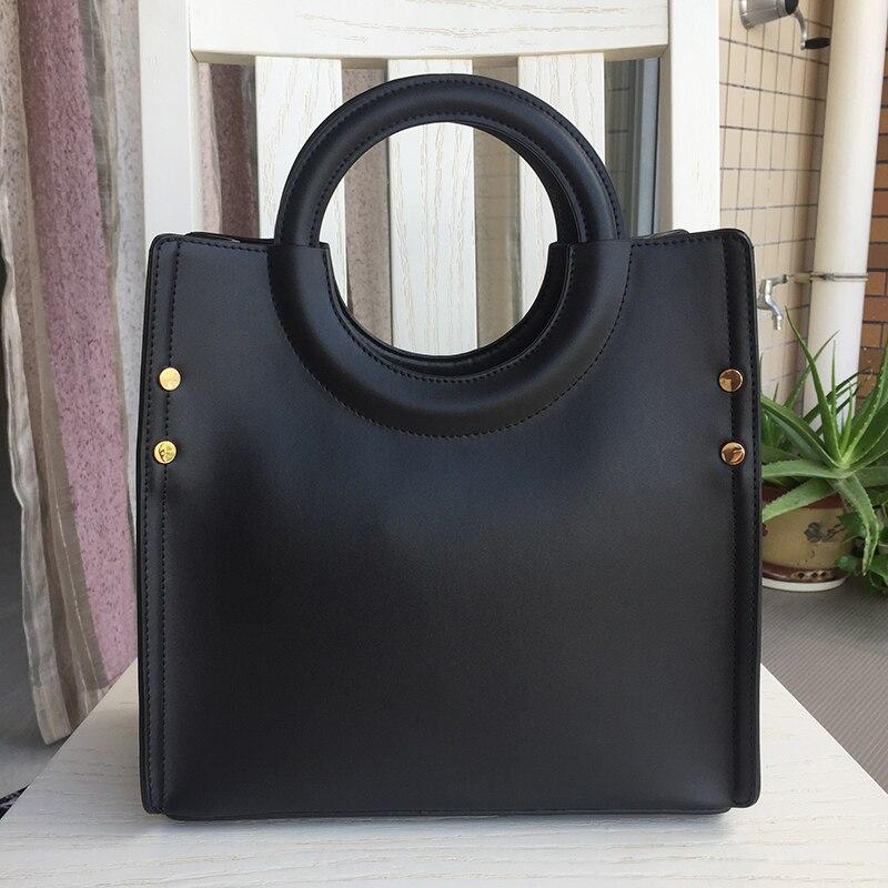 Genuine Leather Handbag Women Lady Cow Leather Shoulder Bag Box Circular Handle Simple Solid Color Luxury