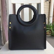 Genuine Leather Handbag Women Lady Cow Leather Shoulder Bag Box Circular Handle Simple Solid Color Luxury Designer