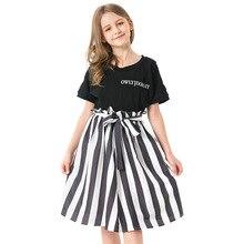 Teen Girl Clothing for Kids Skirts Suit Strapless Shoulder Shirt+Striped Skirt 2pcs Summer Girls Costume Children Clothing Set цена