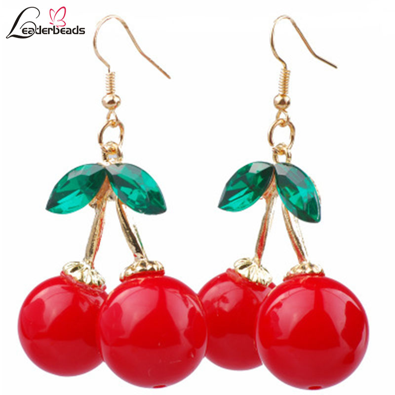 Girl 39 s Charm Green Crystal Leaf Cute Resin Red Cherry Dangle Earrings Female Fashion Summer Beach Party Jewelry Birthday Gift in Drop Earrings from Jewelry amp Accessories