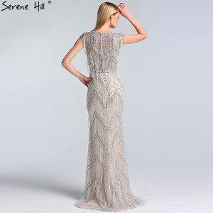 Image 4 - Ruhigen Hill Silber Perlen Quaste Luxus Abendkleider Kleider 2020 Kappe Ärmeln Meerjungfrau Elegant Für Frauen Party LA60830
