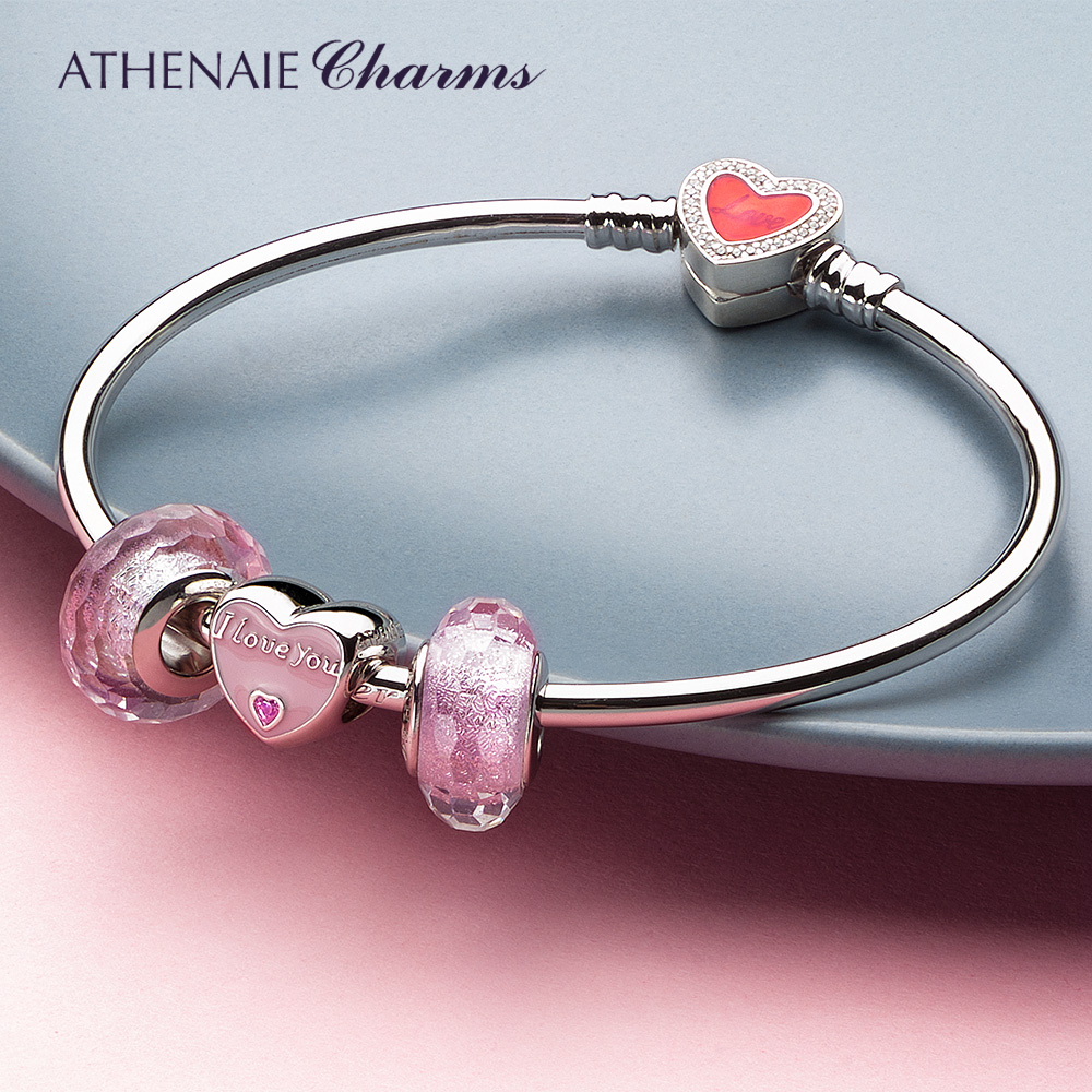 ATHENAIE Original 925 Sterling Silver Heart Bangles & Bracelet with Mom Pendant Color Pink Sweetheart Charm Best Gift for Mother
