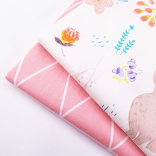 Lovely Rabbit Printed Patchwork Cotton Twill DIY Handmade Fabric Geometric Pattern Sewing Quilting Breathable Material