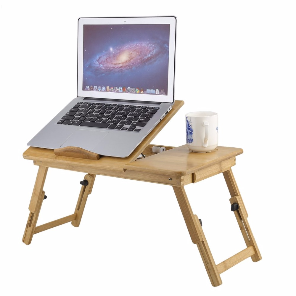 Fashion portable folding bamboo laptop table sofa bed for Table console retractable