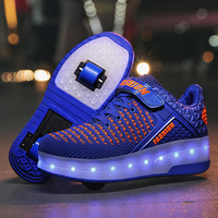New Pink USB Charging Fashion Girls Boys LED Light Roller Skate Shoes For Children Kids Sneakers With Wheels Two wheels