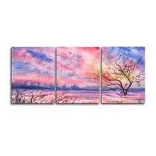 Laeacco Watercolor Nordic 3 Panel Pink Tree Posters and Prints Wall Artwork Home Living Room Decoration Modern Canvas Painting
