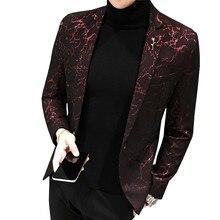 Бренд MYAZHOU, мужской блейзер с принтом, модный,, мужской, тонкий, пиджак, красный, черный, синий, вечерние, для сцены, мужской костюм, мужская куртка