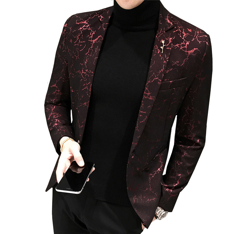 MYAZHOU Brand Men's Printed Blazer Fashion New Men's Slim Suit Jacket Red Black Blue Stage Party Social Men's Suit Men Jacket