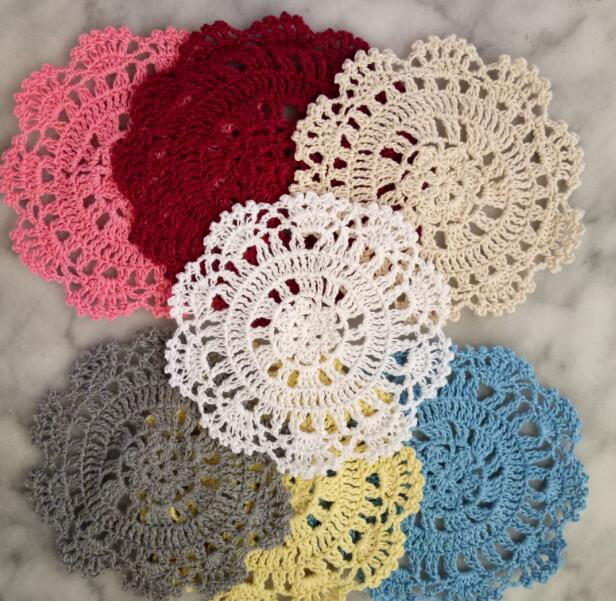 New 2019 Handmade Round lace cotton table place mat crochet coffee placemat pad Christmas drink coaster cup mug tea pan doily in Mats Pads from Home Garden