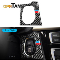 NEW Car Engine Start Stop Ignition Key Panel Stickers Carbon Fiber Circle For Bmw F30 F34